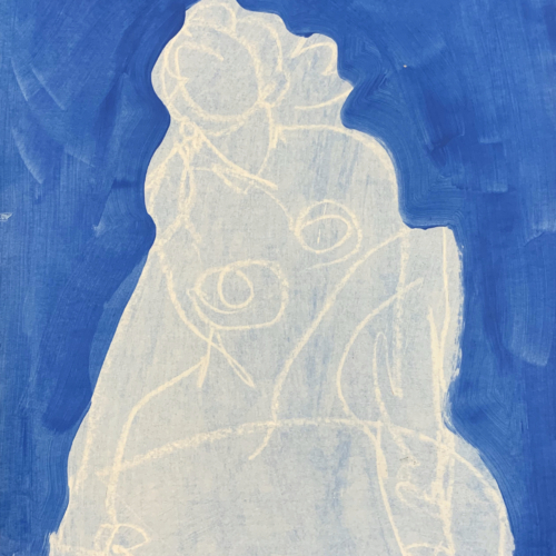 Blue background with female nude drawn and painted in white.