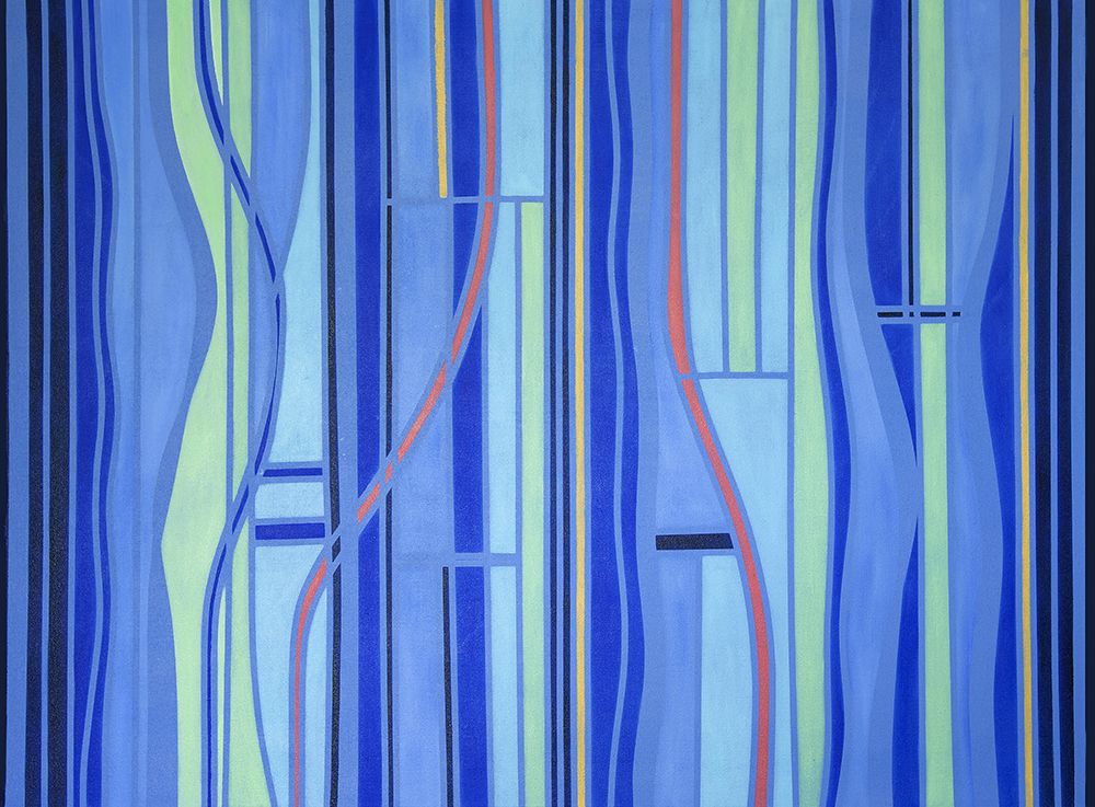 Abstract oil painting composed primarily of vertical lines. Includes shades of blue, light green, and red.
